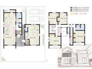 親世帯・子世帯を上下の階ではなく、左右の棟に振り分けた斬新な住戸設計の二世帯住宅フルリフォーム